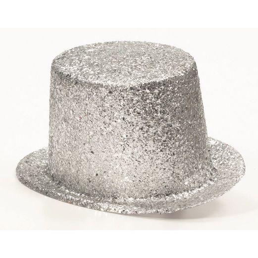 Hats & Headwear Glitter Top Hat-Silver Image