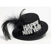New Years Decorations Mini Black and Silver New Year Hat Image