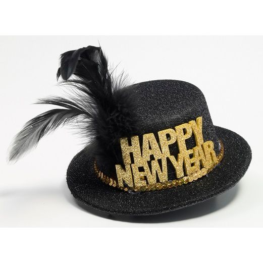 New Years Decorations Mini Black and Gold New Year Hat Image