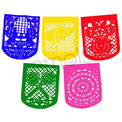 Cinco de Mayo Decorations Large Plastic Picado Party Flags Image