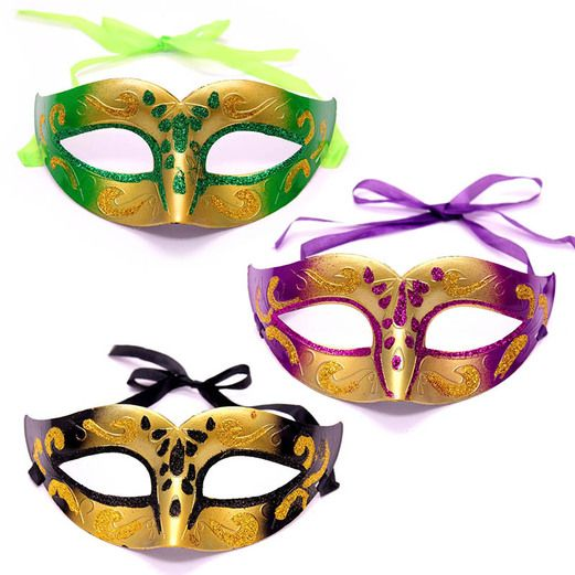 Mardi Gras Party Wear Gold Plastic Masquerade Mask Image