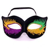 Mardi Gras Party Wear Black Mask with Glitter Bursts Image