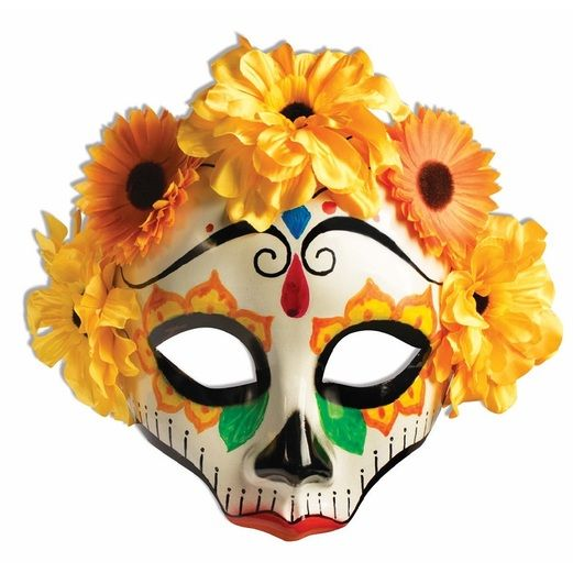 Day of the Dead Party Wear Day of the Dead Yellow Flower Mask Image
