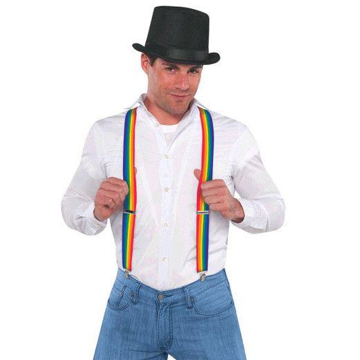Pride Party Wear Rainbow Suspenders Image