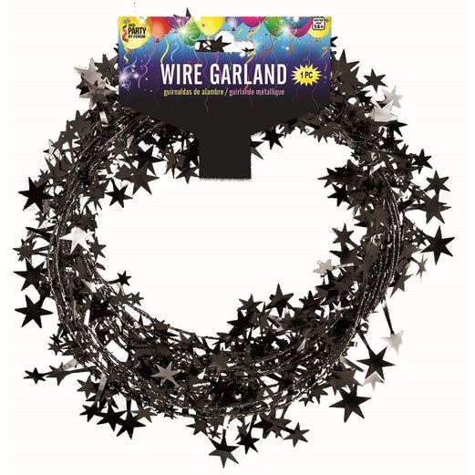 Decorations Black Star Wire Garland Image