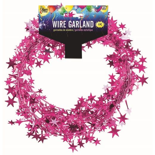 Decorations Cerise Star Wire Garland Image