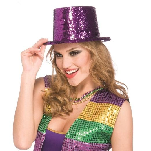Hats & Headwear Glitter Top Hat-Purple Image