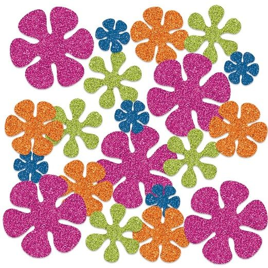 60s & 70s Decorations Retro Flower Sparkle Confetti Image