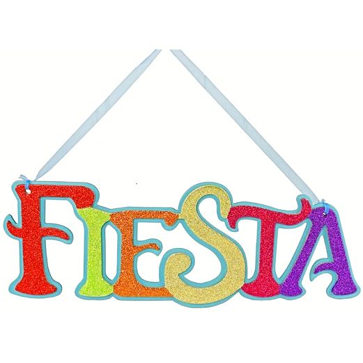 Glittered Fiesta Sign 15.5""