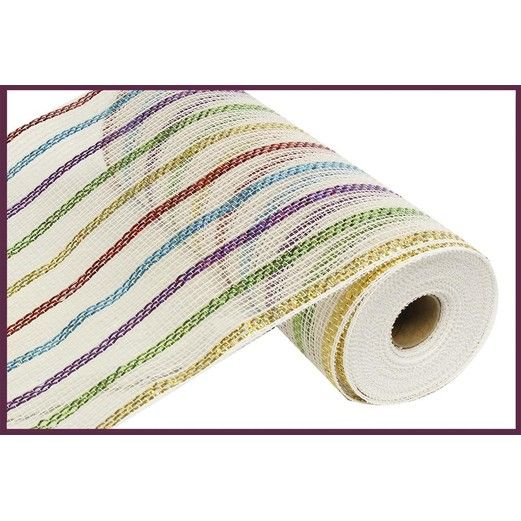 Decorations White Multi Striped Mesh Roll Image