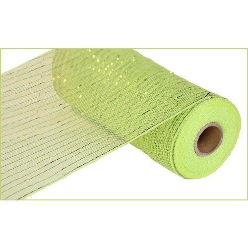 Apple Green Metallic Mesh Roll