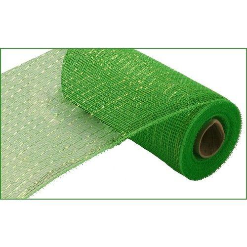 Lime Green Metallic Mesh Roll