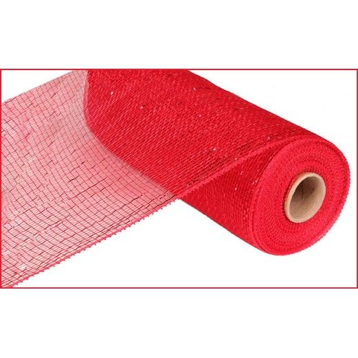 Decorations Extra Wide Red Metallic Mesh Roll Image