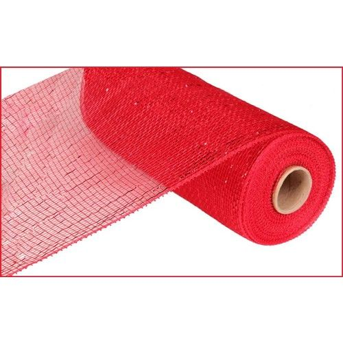 Extra Wide Red Metallic Mesh Roll