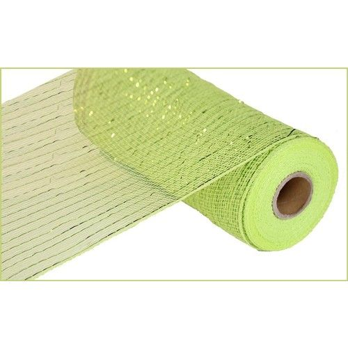 Extra Wide Apple Green Metallic Mesh Roll