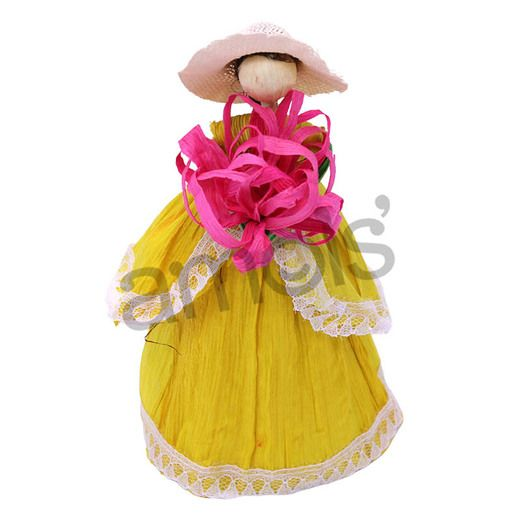 Fiesta Decorations Cornhusk Indita with Hat Image