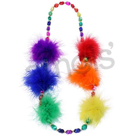 New Years Party Wear Rainbow Bead Necklace with Feathers Image