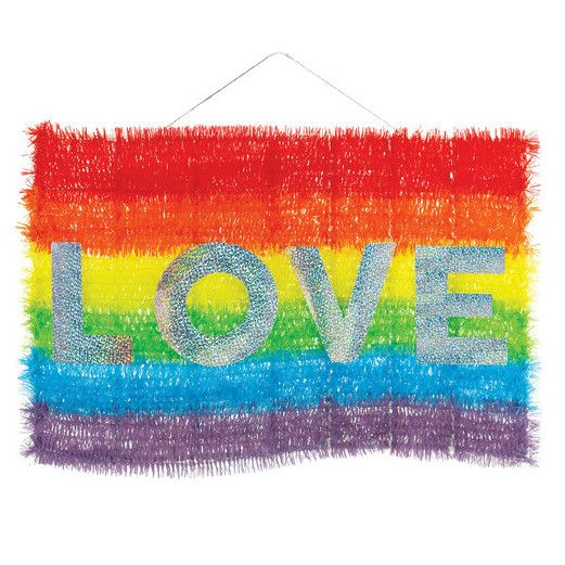 Pride Decorations Deluxe Rainbow Tinsel Flag Image