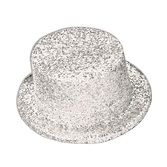 Hats & Headwear Glitter Top Hat-White Image