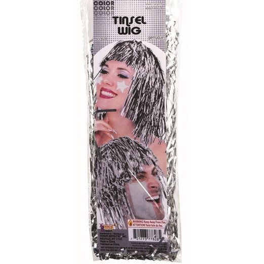 Party Wear Silver Tinsel Wig Image