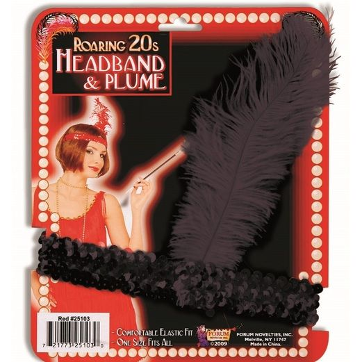 20s Party Wear Black Flapper Headband Image