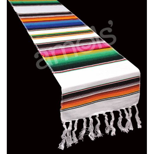 White Woven Serape Table Runner