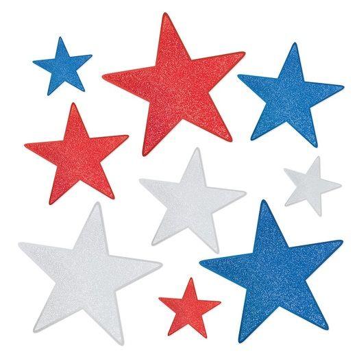 Patriotic Decorations Glittered Foil Star Cutouts Image