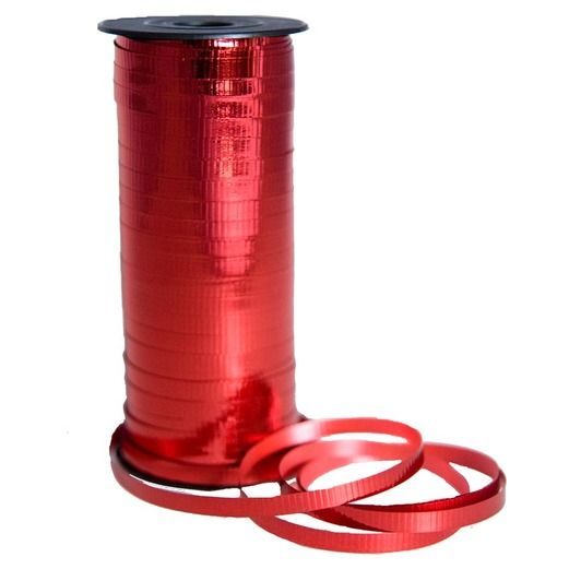 Balloons Metallic Red Curling Ribbon Image