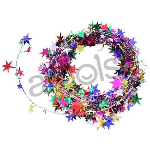 New Years Decorations Multicolor Star Wire Garland 12' Image