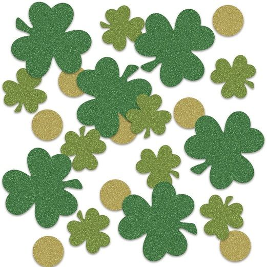 St. Patrick's Day Decorations Shamrock and Coin Sparkle Confetti Image