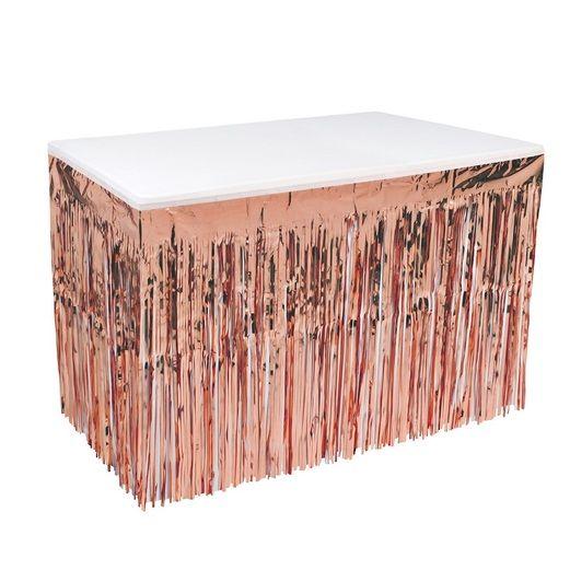 Rose Gold Metallic Table Skirt