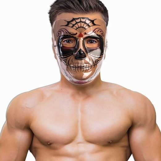 Day of the Dead Party Wear Transparent Sugar Skull Mask Image