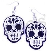 Day of the Dead Party Wear Felt Skull or Skeleton Earrings Image