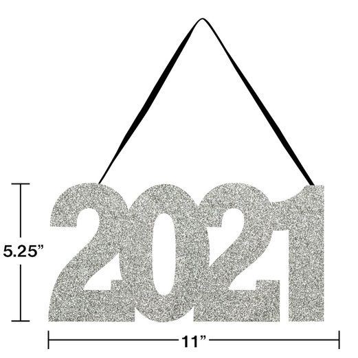 New Years Decorations 2021 Glittered Sign Image