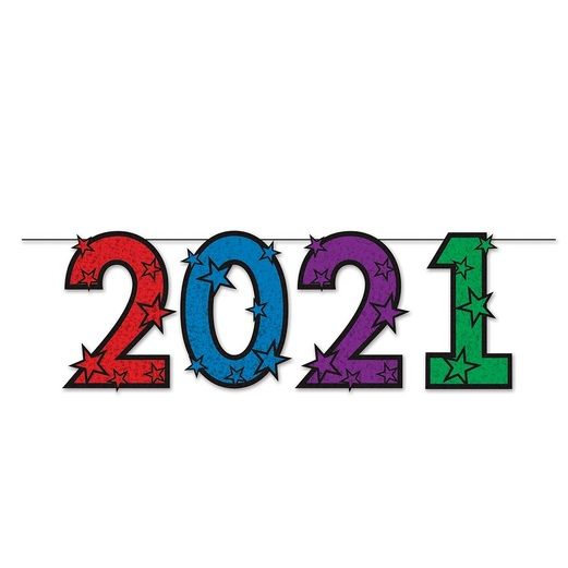 New Years Decorations Multicolor Glittered 2021 Streamer Image