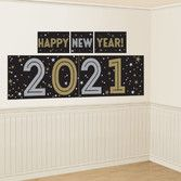 New Years Decorations 2021 New Year Backdrop Black, Gold, & Silver Image