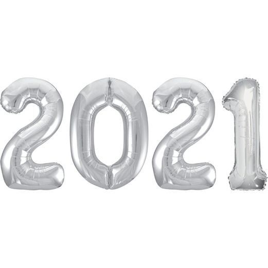 New Years Balloons Silver 2021 Jumbo Mylar Balloons Image