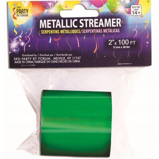 St. Patrick's Day Decorations Green Metallic Streamer 200' Image