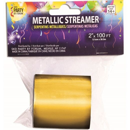 New Years Decorations Gold Metallic Streamer 200' Image