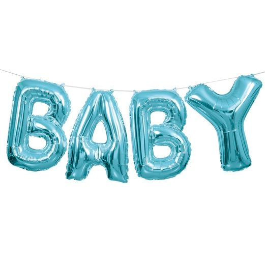 Baby Shower Balloons Blue BABY Balloon Kit Image