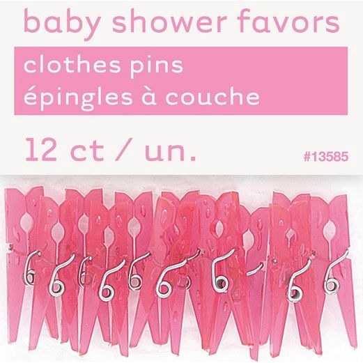 Baby Shower Favors & Prizes Pink Plastic Clothespsins Image