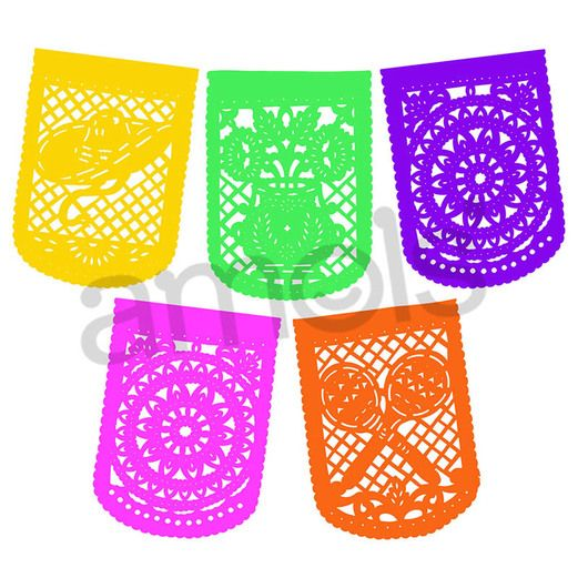 Cinco de Mayo Decorations Large Neon Paper Party Flags Image