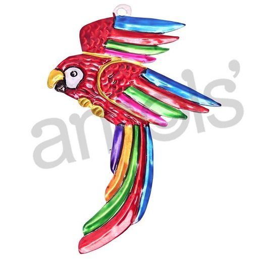 Tropical Macaw Tin Ornament
