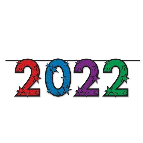 Multicolor Glittered 2022 Streamer