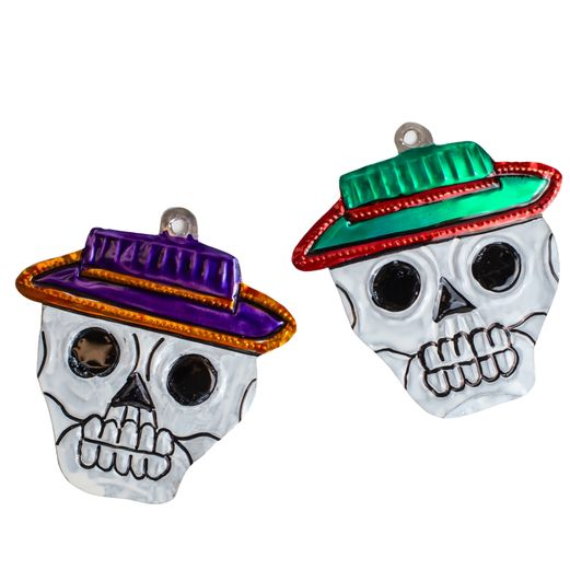 Skull with Hat Tin Ornament