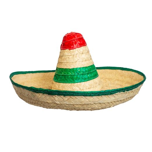 Red, White, and Green Straw Sombrero